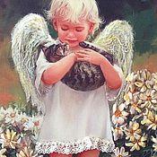 Картины и панно ручной работы. Ярмарка Мастеров - ручная работа Ангел с котёнком. Handmade.