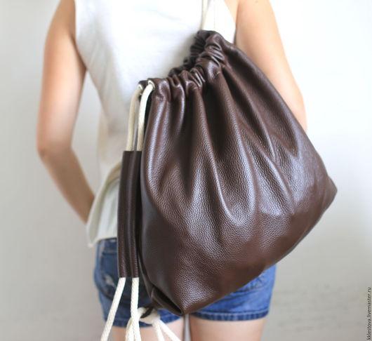 Рюкзаки ручной работы. Ярмарка Мастеров - ручная работа. Купить Рюкзак-мешок из кожи КРС. Handmade. Кожа, рюкзак
