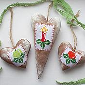 Для дома и интерьера ручной работы. Ярмарка Мастеров - ручная работа Новогодние пряничные сердечки. Handmade.