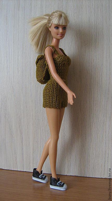 Одежда для кукол ручной работы. Ярмарка Мастеров - ручная работа. Купить летний комплект с рюкзаком. Handmade. Хаки, кукольная одежда