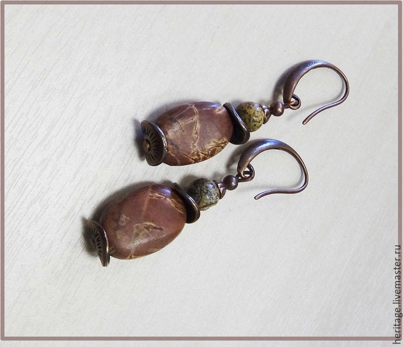 Pink Jasper earrings, Earrings, Moscow,  Фото №1