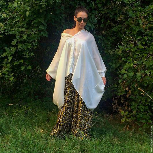 Блузки ручной работы. Ярмарка Мастеров - ручная работа. Купить Белая блузка из шифона - ELISABETHA. Handmade. Белый, блузка
