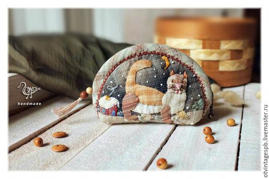 Кошельки и визитницы ручной работы. Ярмарка Мастеров - ручная работа. Купить Рыжий кот -вечерняя прогулка, кошелек для мелочи. Handmade.
