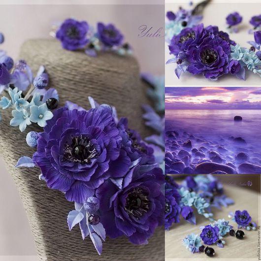 Колье, бусы ручной работы. Ярмарка Мастеров - ручная работа. Купить Колье с цветами из полимерной глины. Сине-фиолетовая гамма. Handmade.
