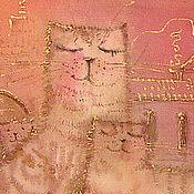 Картины и панно handmade. Livemaster - original item Cats on the roof. Handmade.