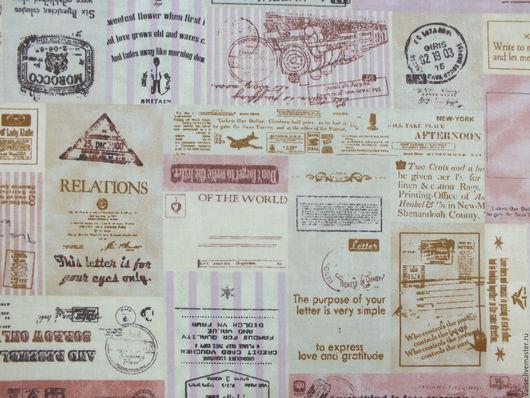 """Шитье ручной работы. Ярмарка Мастеров - ручная работа. Купить Ткань """"Почтовые марки"""". Handmade. Бежевый, марки, ткань для пэчворка"""
