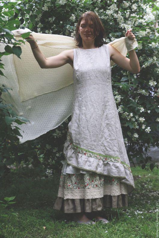 """Платья ручной работы. Ярмарка Мастеров - ручная работа. Купить Льняной сарафан """"Моя летняя история"""". Handmade. Бежевый, кружево"""