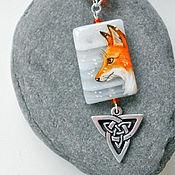"""Украшения ручной работы. Ярмарка Мастеров - ручная работа кулон """"Рыжая лиса на белом снегу"""". Handmade."""