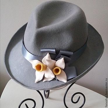 Аксессуары ручной работы. Ярмарка Мастеров - ручная работа Серая шляпа с нарциссами. Handmade.