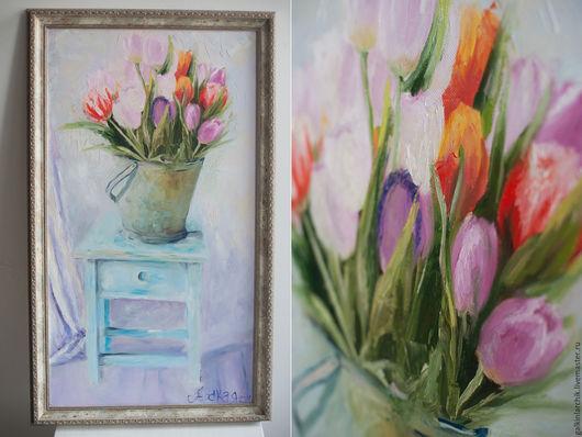 Картины цветов ручной работы. Ярмарка Мастеров - ручная работа. Купить Тюльпаны в ведре. Handmade. Картина в подарок, современное искусство