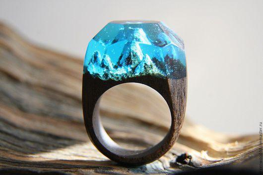 """Кольца ручной работы. Ярмарка Мастеров - ручная работа. Купить Кольцо """"Альпийские горы"""". Handmade. Зеленый, дерево, кольцо, красиво"""