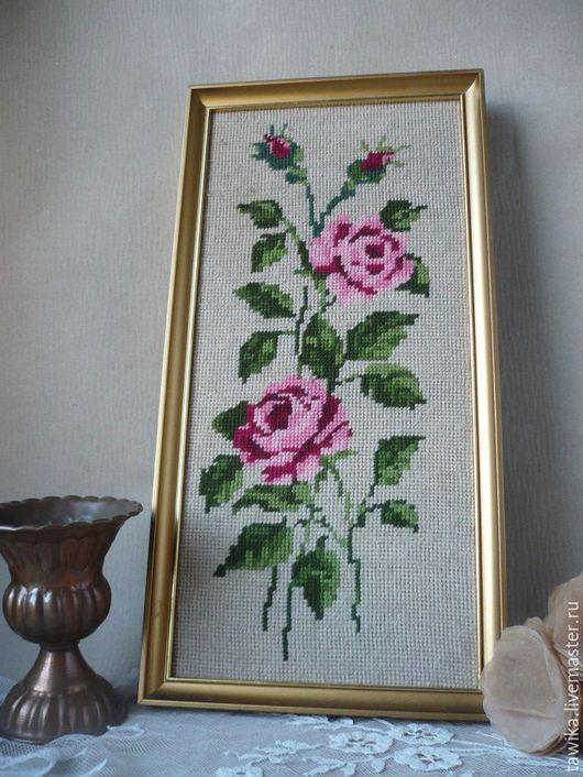 """Винтажные предметы интерьера. Ярмарка Мастеров - ручная работа. Купить Картина """"Розы"""", гобелен, вышивка, винтажная, старинная,шерсть, Австрия. Handmade."""