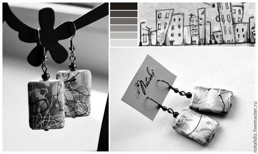 """Серьги ручной работы. Ярмарка Мастеров - ручная работа. Купить Серьги """"Город"""". Handmade. Чёрно-белый, город, капли, прямоугольник"""