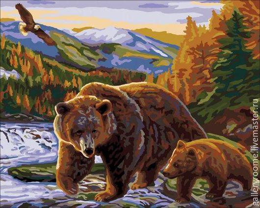 Другие виды рукоделия ручной работы. Ярмарка Мастеров - ручная работа. Купить Картина по номерам Медведь с медвежонком. Handmade.