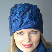 Аксессуары handmade. Livemaster - original item Women`s blue felted hat. Handmade.