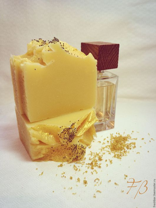 """Мыло ручной работы. Ярмарка Мастеров - ручная работа. Купить """"Лимонный шифон"""" натуральное мыло с нуля. Handmade. Лимонный"""
