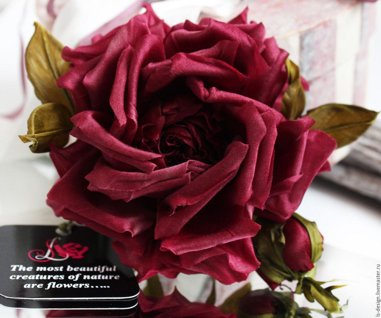 Цветы из ткани брошь Бордовая Роза, Брошь-булавка, Киев,  Фото №1