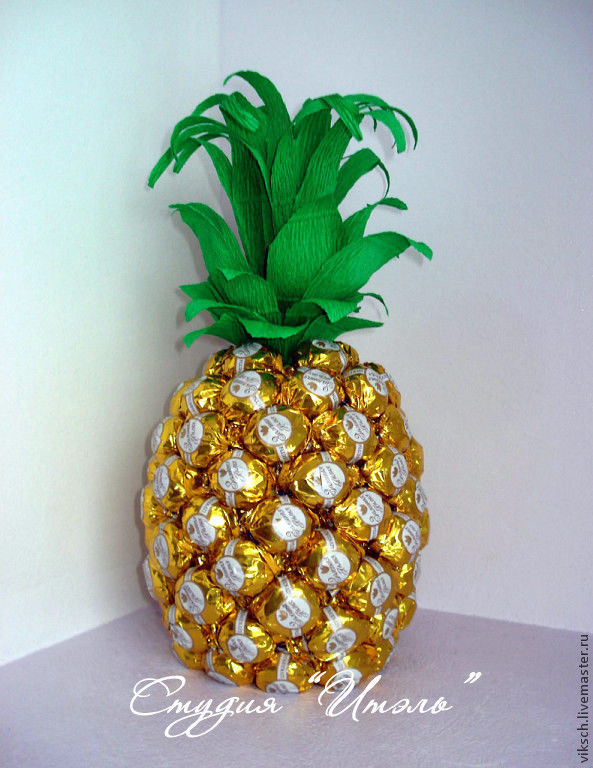 Композиция из конфет ананас своими руками из
