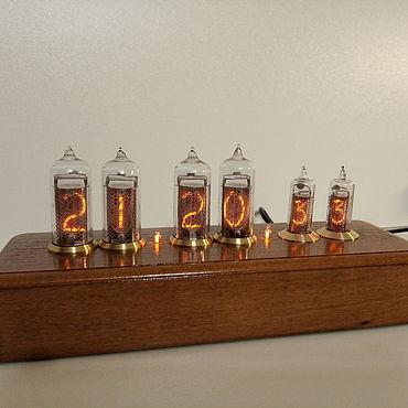 Для дома и интерьера ручной работы. Ярмарка Мастеров - ручная работа Часы: Ламповые часы Nixie clock Бук ин-14 + ин-16. Handmade.
