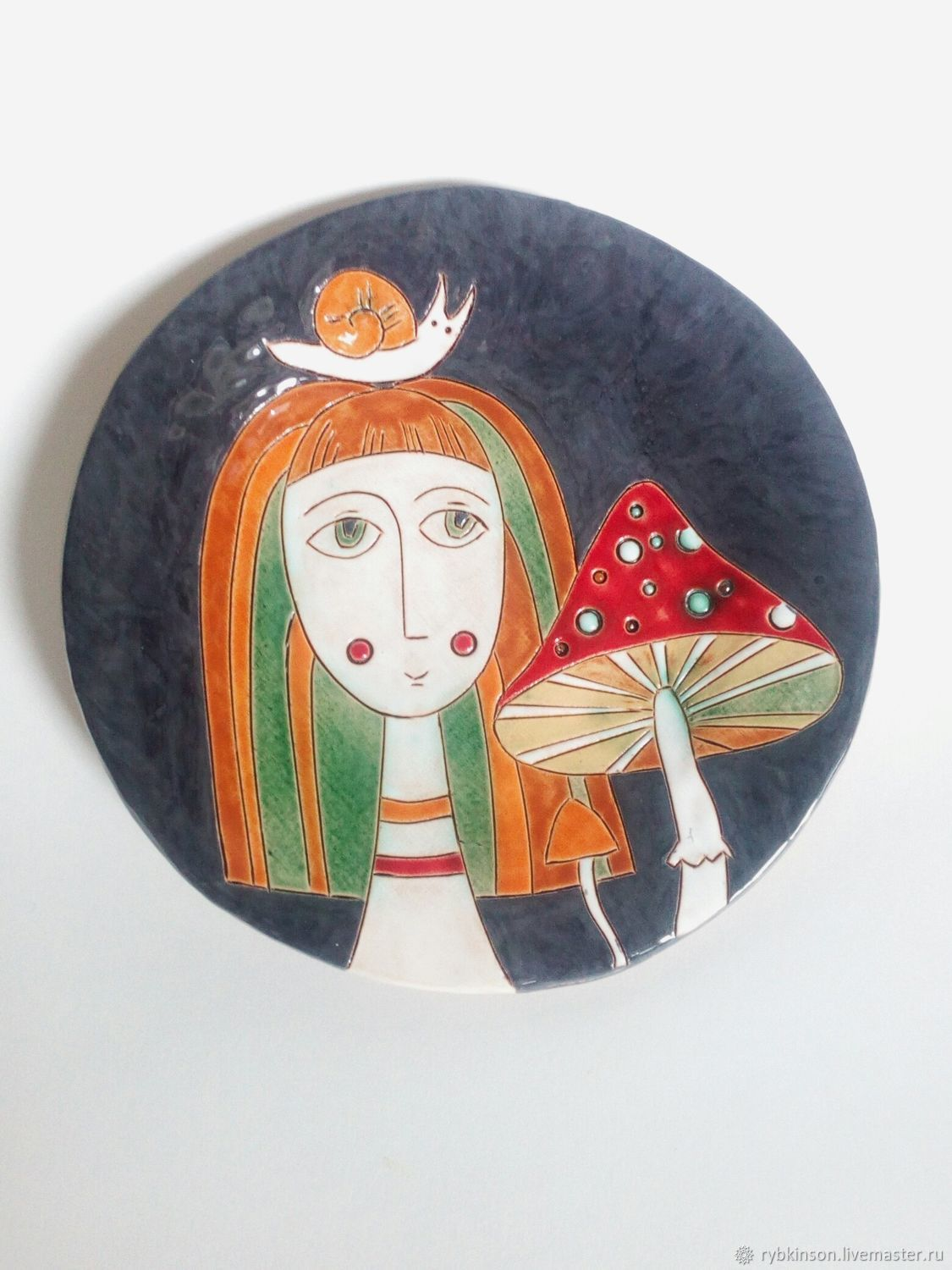 Ceramic plate ' Girl with fly agaric', Plates, Pokrov,  Фото №1