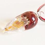 Кулон лэмпворк медуза. Авторское стекло. Подвеска медуза.