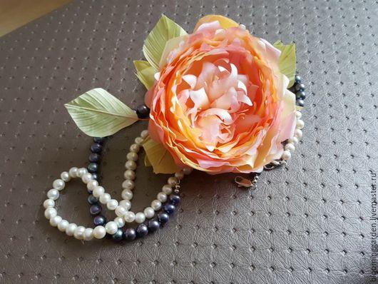 Цветы ручной работы. Ярмарка Мастеров - ручная работа. Купить Брошь Английская роза. Handmade. Комбинированный, персиковый, абрикосовый цвет