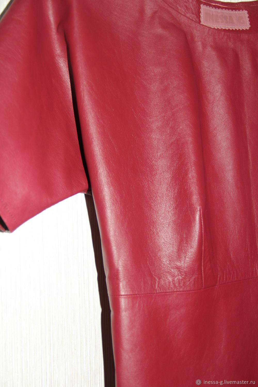 Платья ручной работы. Ярмарка Мастеров - ручная работа. Купить Кожаное платье брусничного цвета. Handmade. Нарядное платье