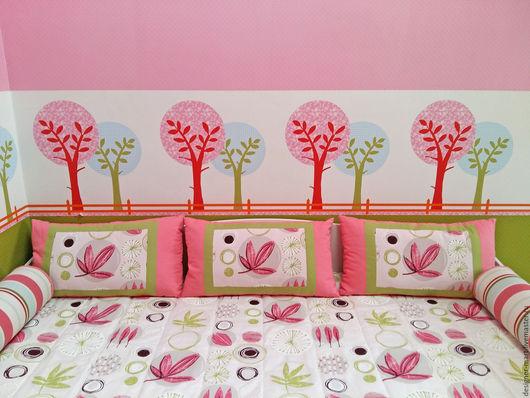 Детская ручной работы. Ярмарка Мастеров - ручная работа. Купить Детская розовый с салатовым. Handmade. Розовый, покрывало для детской