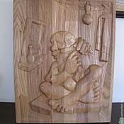 """Для дома и интерьера ручной работы. Ярмарка Мастеров - ручная работа Банное резное панно """"Дед 2"""". Handmade."""
