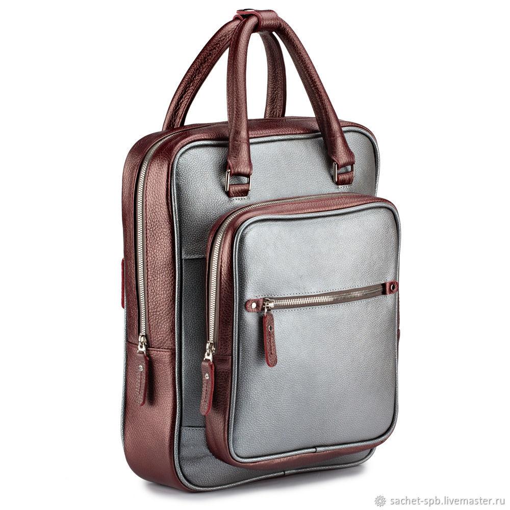 Leather backpack 'Kasandra' (silver and Burgundy metallic), Backpacks, St. Petersburg,  Фото №1