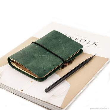 Stationery handmade. Livemaster - original item Leather notebook with interchangeable A6 notebook made of leather. Handmade.