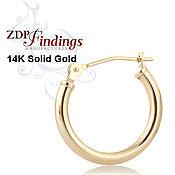 2 размера Пара золотых 14К  серег  колец C200000V