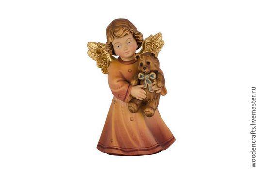 Статуэтки ручной работы. Ярмарка Мастеров - ручная работа. Купить Ангел с мишкой из дерева. Handmade. Комбинированный, белый, ангелочек, бабушке