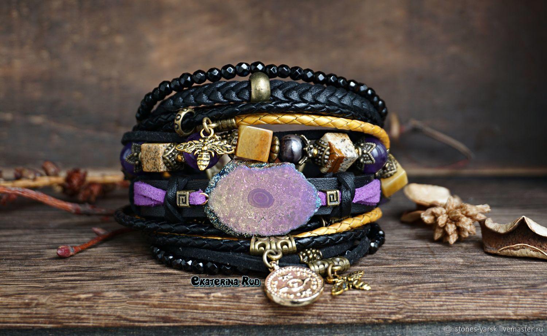 BOHO style bracelet with quartz ' Flight over lavender honey', Bead bracelet, Moscow,  Фото №1