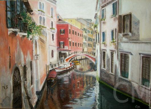 Город ручной работы. Ярмарка Мастеров - ручная работа. Купить Картина. Венеция. Мосты. Handmade. Коралловый, мосты, картина на заказ