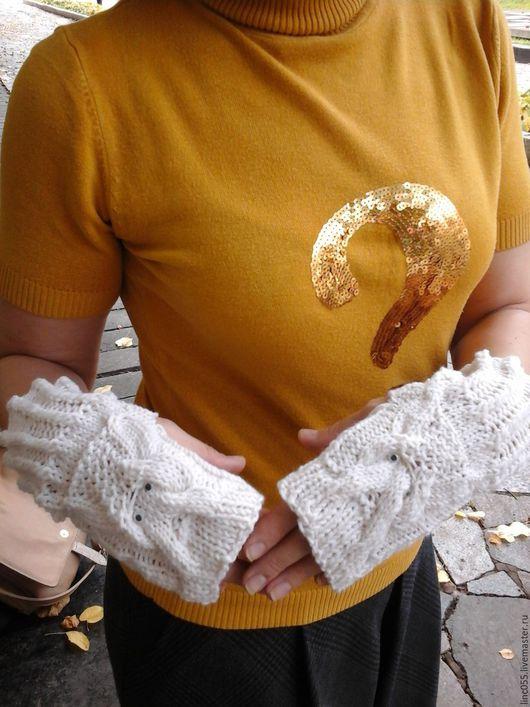 """Варежки, митенки, перчатки ручной работы. Ярмарка Мастеров - ручная работа. Купить Митенки """"Совушки"""". Handmade. Белый, митенки для девушки"""