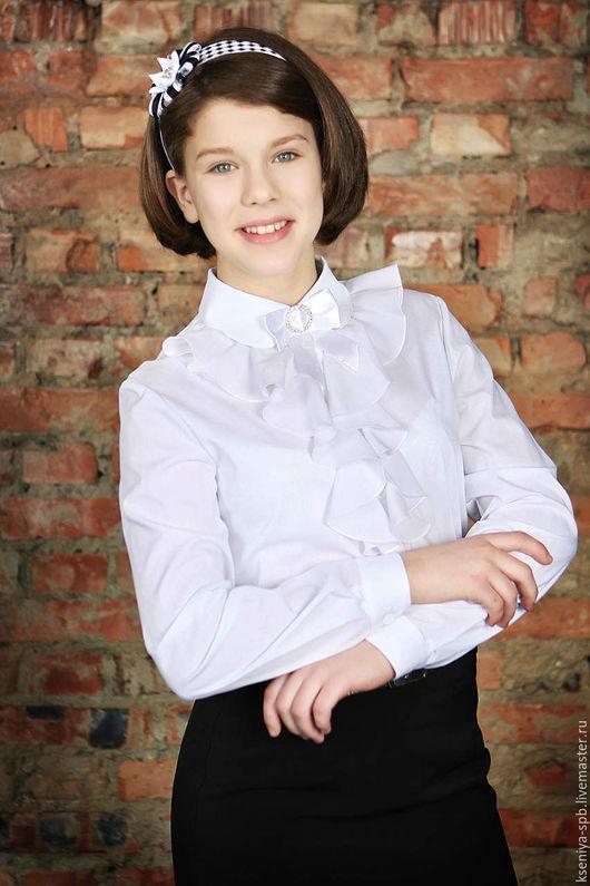 Блузки ручной работы. Ярмарка Мастеров - ручная работа. Купить Школьная форма для девочек: блузка белая праздничная (Арт.52). Handmade.
