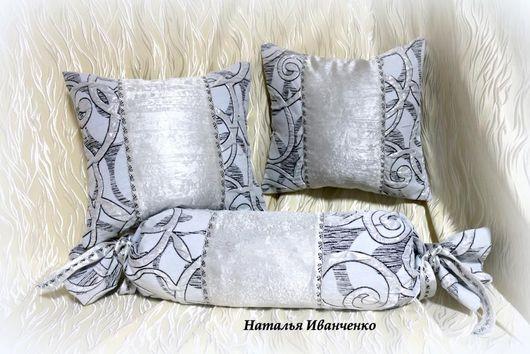 Текстиль, ковры ручной работы. Ярмарка Мастеров - ручная работа. Купить Подушки декоративные серебристые. Handmade. Серый, текстиль для дома