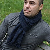 Аксессуары handmade. Livemaster - original item Dark blue tweed scarf for men and women. Handmade.