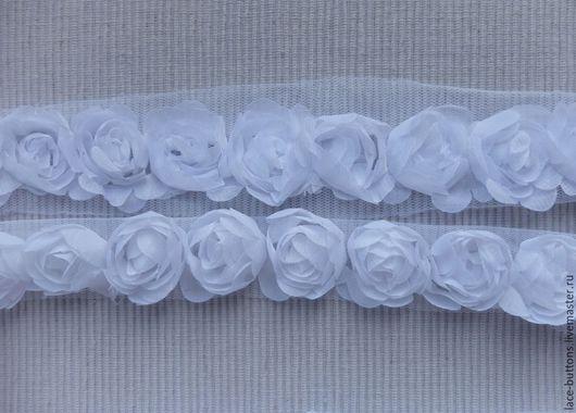 Шитье ручной работы. Ярмарка Мастеров - ручная работа. Купить Объемные цветы белые 3см. Handmade. Белый, шифоновые цветы