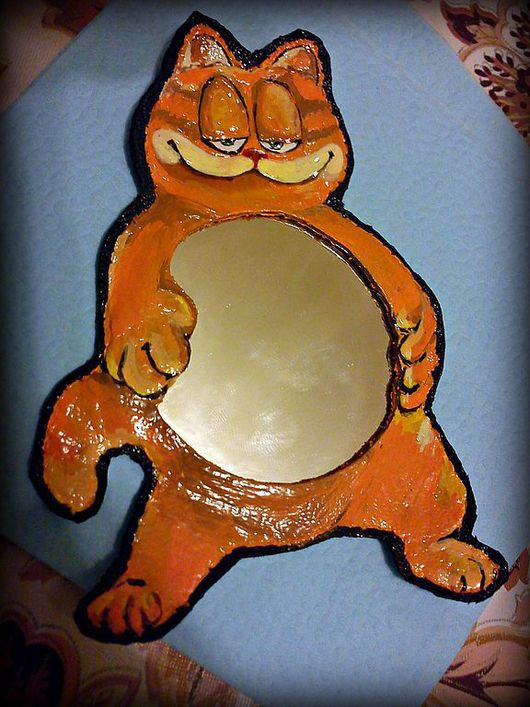 """Зеркала ручной работы. Ярмарка Мастеров - ручная работа. Купить зеркальце """"Гарфилд"""". Handmade. Зеркальце, маленькое зеркальце, кот, кошка"""