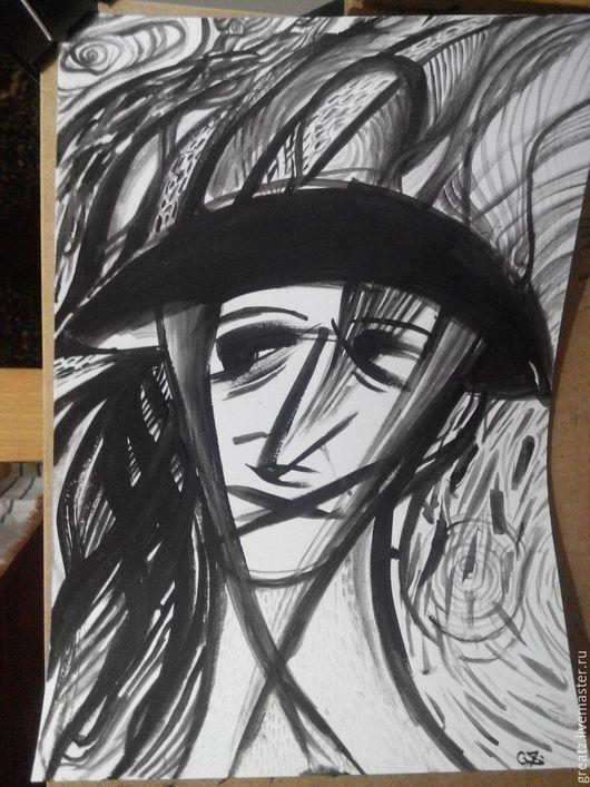 Абстракция ручной работы. Ярмарка Мастеров - ручная работа. Купить Розовая депрессия. Handmade. Черный, время, белый, депрессия, gz