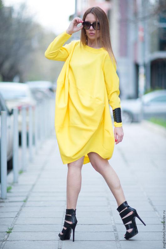 Туника, Туника с длинным рукавом, Желтая туника, Длинная туника, Туника платье, Красивая одежда для женщин ЕУГ