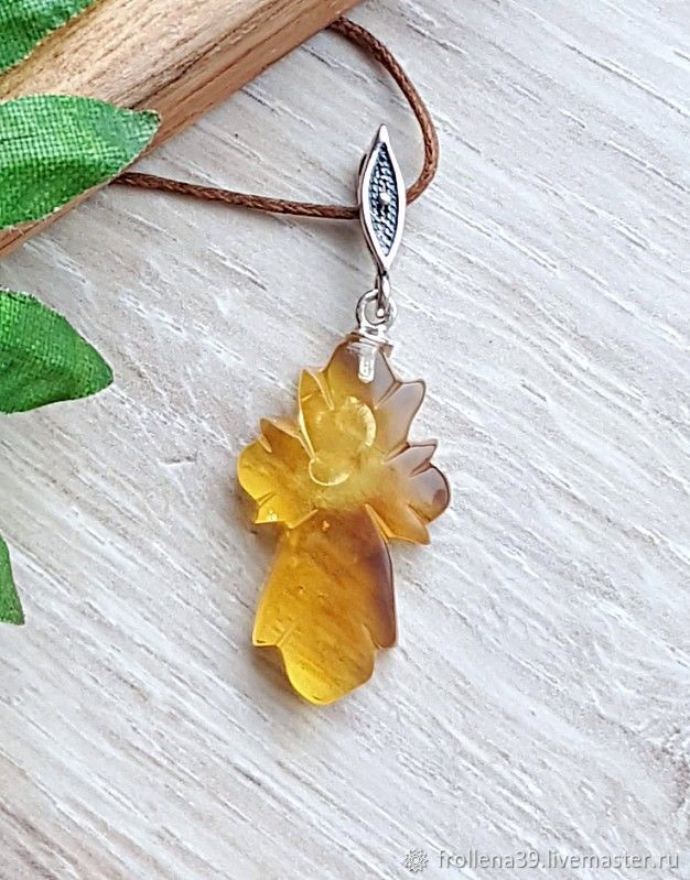 Amber. Pendant 'Cross with the sun' amber silver, Pendants, Moscow,  Фото №1