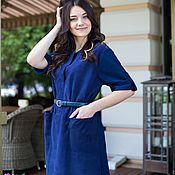 Одежда ручной работы. Ярмарка Мастеров - ручная работа Платье из замши натуральной синее, Кейптаун, комбинированное. Handmade.