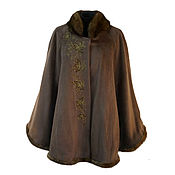 Одежда handmade. Livemaster - original item Poncho with mink fur and designer embroidery