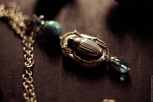 """Кулоны, подвески ручной работы. Ярмарка Мастеров - ручная работа. Купить Медальон """"Скарабей"""". Handmade. Бирюзовый, египет, серебро голубой"""