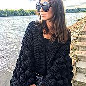 Одежда handmade. Livemaster - original item Black cardigan ladies knitted. Handmade.