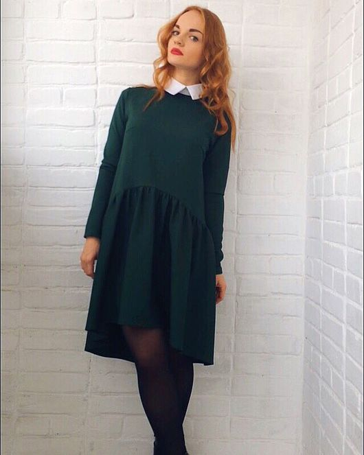 Платья ручной работы. Ярмарка Мастеров - ручная работа. Купить Дизайнерское платье с воротничком. Handmade. Дизайнерская одежда, платье с воротничком