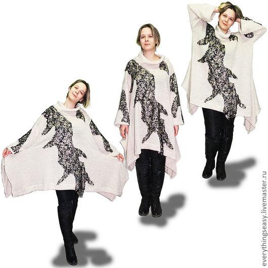 """Авторское теплое шерстяное платье-туника свободного кроя большого размера. Магазин """"Всё просто"""" Livemaster.ru"""
